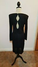 Stunning Gala Ball Black Diamonte Long Sleeved Dress with Back Detail Size 12
