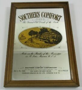 Vintage Southern Comfort Brewery Pub Home Bar Framed Advertising Mirror