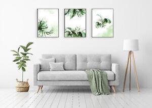 Print Set of 3 Botanical Prints Monstera Poster A3 Size Watercolor A3