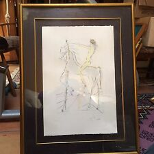 "salvador dali pencil signed limited edition print 104/250 framed 33"" x 25"" songs"