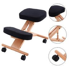 Wooden Kneeling Chair Orthopaedic Stool Ergonomic Posture Frame Seat Black
