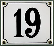 """Weiße Emaille Hausnummer """"19"""" 14x12 cm Hausnummernschild sofort lieferbar Schild"""
