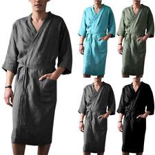 Mens Bathrobe Dressing Cotton Pajamas Kimono Gown Robe Comfy Casual Loungewear