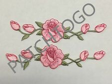 "#3965 Lot 2Pcs 4 1/2"" Pink Rose pink rose Embroidery Iron On Appliqué Patch"