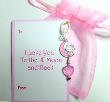 "Pink Heart Bag Charm ""I Love you to the Moon and Back"" Hello Kitty on Moon Gift"