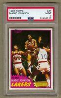 1981 Topps MAGIC JOHNSON Basketball Card #21 PSA 9 MINT L.A. Lakers FREE SHIP!