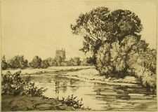 Edith S. Bessell pencil signed original antique etching 'Wye at Hereford'