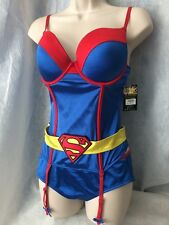 NWT Adult halloween Sexy Woman's Superman SUPER GIRL CORSET Costume Set W Panty!
