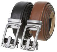 "Men's Casual Dress Sliding Ratchet Gunmetal Buckle Leather Belt 1 3/8"" Wide"