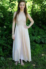 Vintage 60s GLYDONS Nude Open Lace Bodice Nylon Retro Dress Night Maxi Gown S M