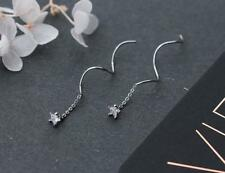 925 Sterling Silver CZ Star Threader Line Thread Earrings A1440
