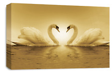 Love Heart Canvas Wall Art Picture Print Kissing Sepia Swans Stunning 20 x 30