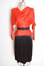 vintage 80s does 40s dress red black satin peplum draped secretary dress XS