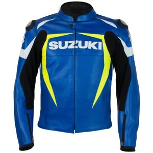 Suzuki Leather Jacket - Blue/Yellow - Men's Small - 990A0-21235-SML