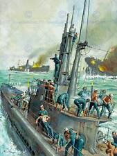 PAINTING SEASCAPE NAVAL BATTLE JAPAN USA DESTROYER FINE ART PRINT POSTER CC1420