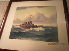 WW 2, PLATE SIGNED G. GRANT NAVY SHIP'S PRINT