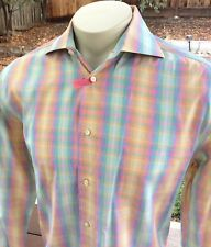 Men's Poggianti 1958 L/S Dress Shirt Sz L Rainbow Checked Windowpane Italy