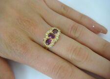 18K YELLOW GOLD 1.60 CT HIGH END RUBY AND DIAMONDS LADIES RING, 4.8 GR, SIZE 6.5