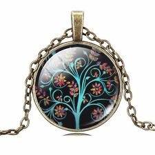 Nice Antique Bronze Color TREE Of LIFE Glass Cabochon Pendant Chain Necklace