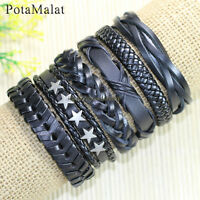PotaMalat 6pcs Wrap Men's Star Alloy Leather Bracelet Braided Rope Bangle-D1