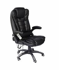 Executive Recline Extra Padded High Back Massage Recliner Office Chair Black