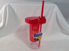 Fruit Infuser Tumbler Cup with Straw Red Clear 20 oz NEW