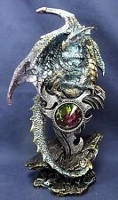 Dragon guarding a Large Jewel Mythical Fantasy Figurine Blue (C)