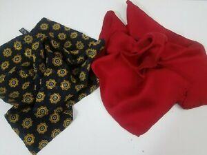 Italian Mens Lot 2 Pocket Square Handkerchief Red & Black Silk Satin Handmade