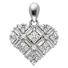 """14K White Gold 0.25 ct Baguette Round Diamond Heart Pendant Charm 1/2"""" 1.0 gr"""