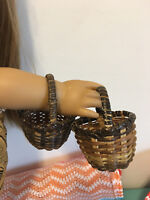 """18"""" Doll Farm Mini Wicker Picnic Baskets For Food Fits American girl Lot of 2"""