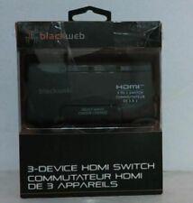 New Open Box Blackweb Bwa18Av008C 3-Device Hdmi Switch with Remote Control -Read