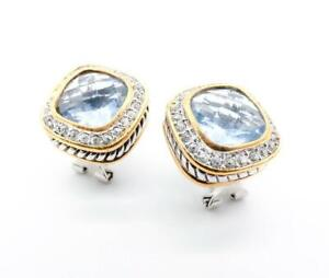 GORGEOUS 18kt Gold Plated Light Blue Topaz Crystal Cable Square Omega Earrings