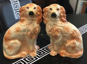 Antique Matched Pair Of Staffordshire Spaniel Mantle Dogs