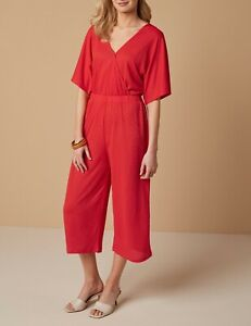 NEXT Red Stretch Wide Leg Culotte Wrap Jumpsuit Size 14 BNWT Summer Casual Work