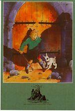 1 CP BD avec héros des aventures de TINTIN de HERGE RODIER Hergé est mort