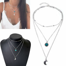 2019 Boho Multilayer Choker Necklace Turquoise Moon Chain Silver Women Jewelry