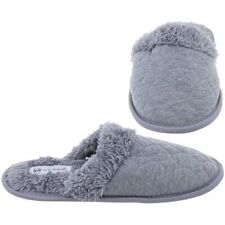 Harve Bernard Womens Gray Quilted Slip On House Slippers Size 5-6