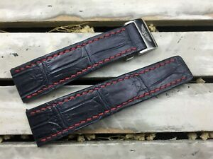 Alligator leather  watch  band for BreitlingNavitimer  #CSB0406