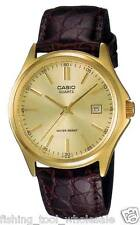 MTP-1183Q-9A Gold Casio Watch Genuine Leather Band Date Display Analog