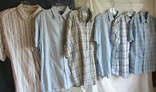 Lot of 6 Men's Button Short Sleeve Blue Cotton & Linen/Rayon Shirts Plaid Sz L