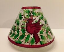 Yankee Candle Crackle Glass w/Cardinal Shade Candle Topper Red Rim HolidayWinter
