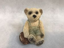 UDC Bear Holding Football Wearing Coveralls Vintage Figurine Collectible Gift