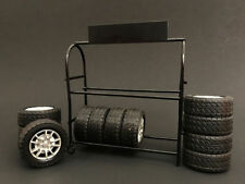 American Diorama 1/24 Scale Metal Tire Rack Tires & Rims For Diecast Car Model
