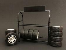 American Diorama 1/18 Scale Metal Tire Rack Tires & Rims Diecast Car Model 77518
