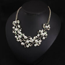 WOMEN STATEMENT BIB PEARL RHINESTONE SILVER CHUNKY COLLAR PENDANT CHAIN NECKLACE