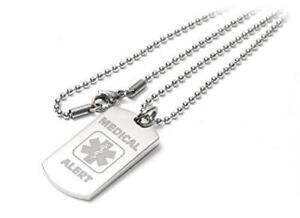 Personalised Medical Alert I-C-E / SOS Dog Tag Necklace / Pendant - Engraved