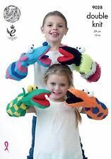 KING COLE 9028 QUIRKY ANIMAL HAND PUPPETS ORIGINAL KNITTING PATTERN - 4 STYLES