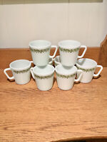 VINTAGE CORELLE PYREX CRAZY DAISY COFFEE MUGS CUPS 8 COUNT 1970s ERA
