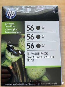 Genuine HP 56 Black Tri Pack Ink Cartridges New Sealed  Expired Dec 2012