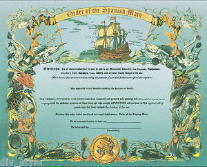 Order of the Spanish Main Certificate new unused US Naval Institute